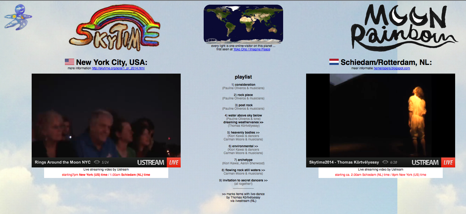 screenshot from the performance of  Skytime 2014 Moonbows, showing the two livestreams side by side